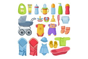 Set of different tools for newborn baby. Vector illustrations in cartoon style