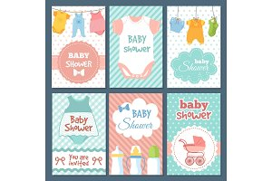 Labels or cards for baby shower package. Vector funny illustrations for kids