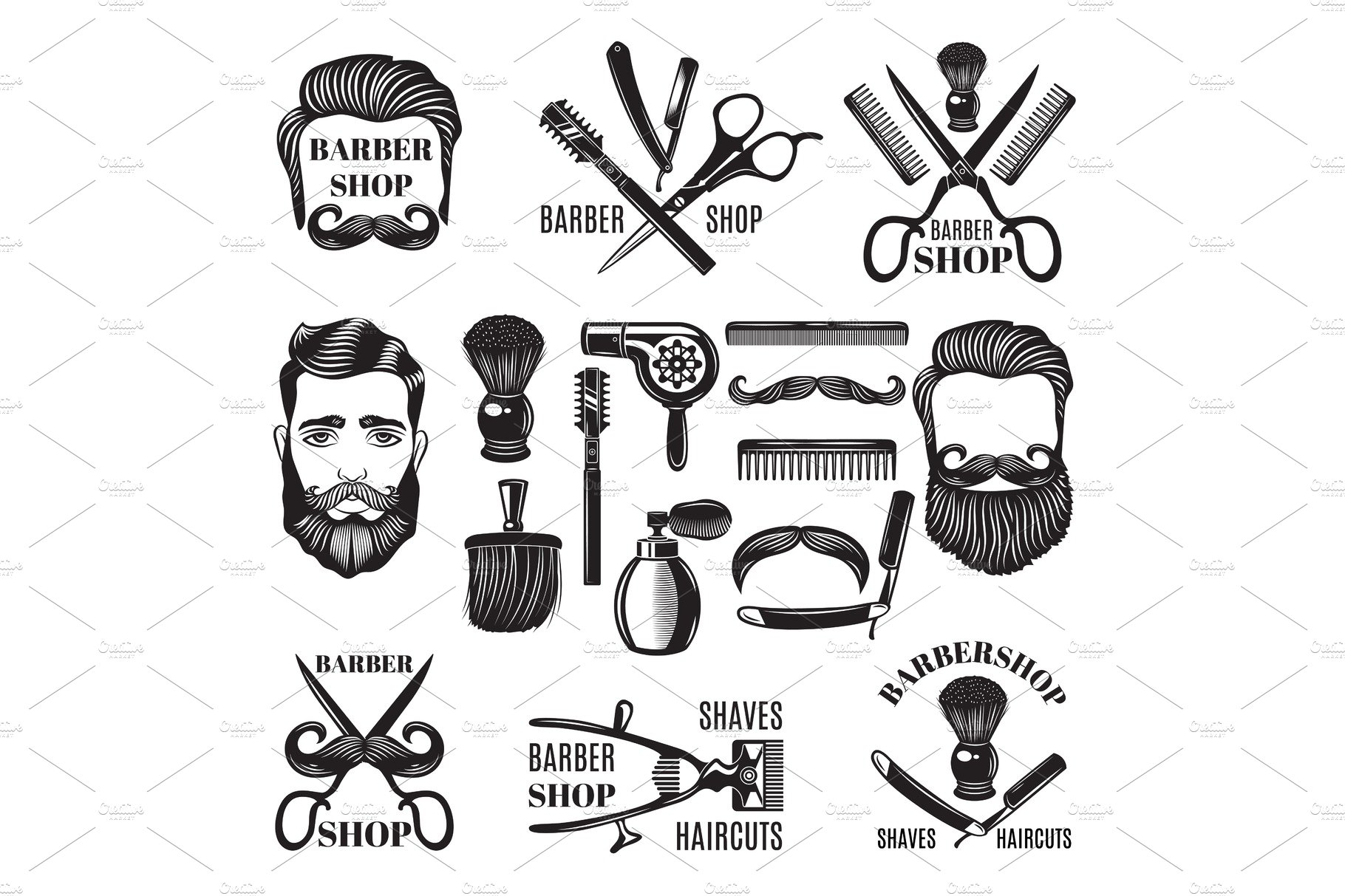 Monochrome Pictures Of Barber Shop Tools Vector Illustrations For