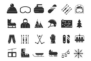 Monochrome icon set of winter sport. Vector black pictures