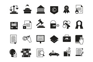 Business icons set in monochrome style. Law and protection. Legal regulations