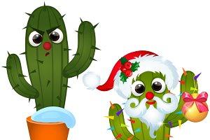 Сactus decorated Christmas baubles