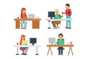 Freelancers male and female at computer workspace. Illustrations of coworkers in flat style