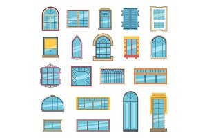 Exterior set of different plastic or wooden windows for apartment