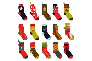 Set of christmas socks. Vector illustrations in flat style