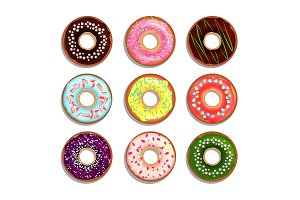 Different donuts in cartoon style. Vector illustrations isolate on white