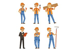 Mascot design of builders in different action poses. Industrial workers in specific uniform. Vector illustration isolate