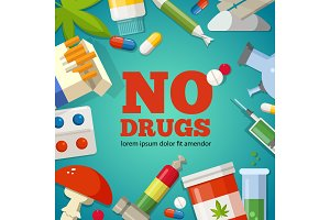Poster with promotion of the health. Pharmaceutical pictures. No drugs