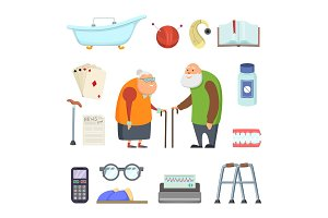 Old couple with assistants tools. Vector illustrations set in cartoon style