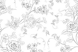 Rose seamless pattern.
