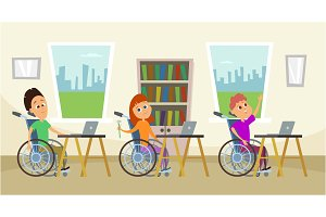 Disabled people in wheelchair sitting at the school desk. Kids in school. Illustration of education
