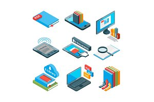 Isometric icons of electronic books and other gadgets for reading