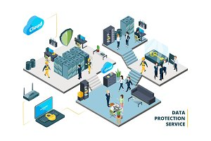 Telecommunications tools. Big datacenter with specific systems and cloud servers. Isometric illustrations of network company interior