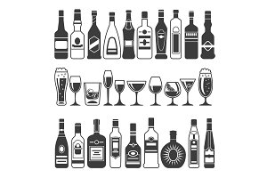 Monochrome illustrations of black pictures of alcoholic bottles. Vector illustrations for logo or label design