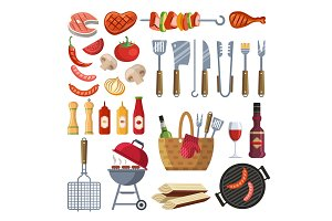 Different special tools and food for barbecue party. Grilled vegetables, meat, steak and sausage