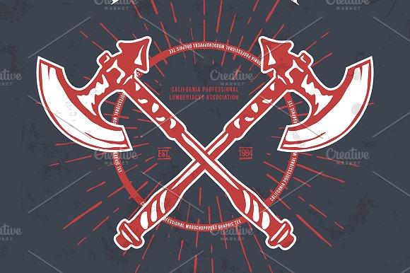 Crossed Axes Lumberjack Graphic Tee
