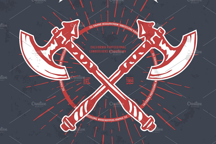 Crossed Axes Lumberjack Graphic Tee in Illustrations - product preview 8