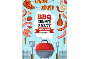 Design template of invitation for bbq party. Vector poster illustration with place for your text