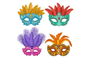 Colored pictures of carnival or theatre masks with feathers. Vector illustrations set in cartoon style