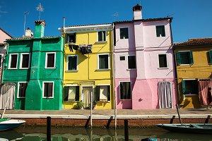 Colorful houses in Burano island , I