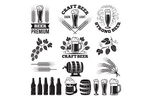 Beer pub labels set. Logo design elements. Brewery