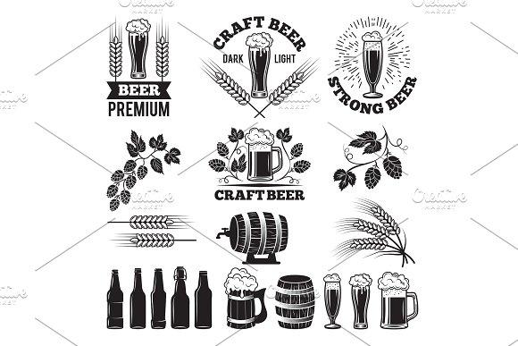 Beer Pub Labels Set Logo Design Elements Brewery