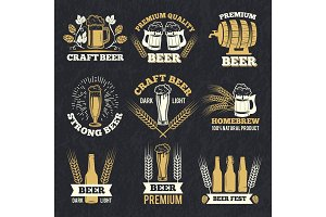 Brewery labels isolate on dark background. Badges template with place for your text