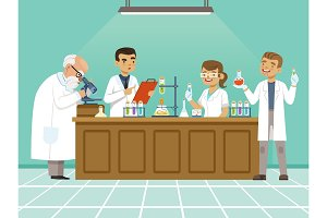 Professional chemists in their laboratory makes different experiments on the table. Male and female medical workers