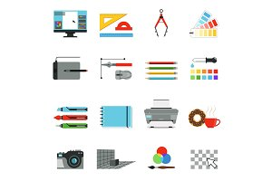 Graphic and computer design. Different tools for artists and graphic designers. Vector icons set in cartoon style