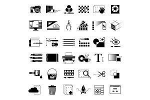 Creative tools for graphic artists or web designers. Vector monochrome black illustrations