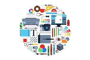 Vector pictures of tools for graphic designers. Icons set in circle shape