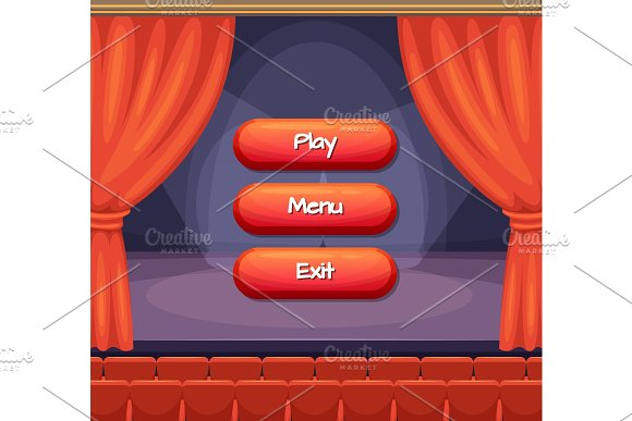 Vector Cartoon Style Buttons With Text For Game Design On Theater Scene With Curtains Background