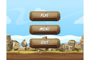 Vector cartoon style stone buttons with text for game design on rocks and sky background