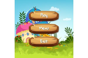Vector cartoon style wooden buttons with text for game design on fairytale mushroom houses background