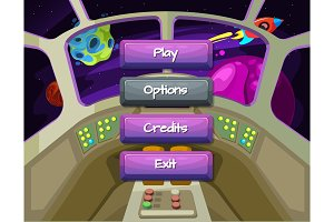 Vector cartoon style enabled and disabled buttons with text for game design on spaceship texture background