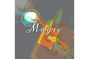 Vector fantasy cartoon style game design medieval crossed magic staff and spellbook elements with lettering and shadows