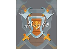 Vector fantasy cartoon style game design medieval crossed shield, axe and sword elements with lettering and shadows