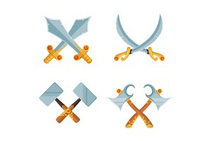 Vector set of cartoon game design crossed sword and axe weapons isolated on white background