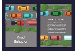 Vector cars on the road with grass and trees on the sidelines top view card or flyer template