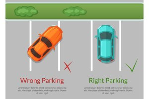 Vector wrong and right parking cars on the parking lot top view illustration