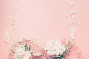 Pastel flowers layout with peony