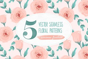 5 Seamless Floral Patterns + Freebie