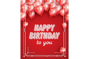 Happy Birthday Card with Red Balloon