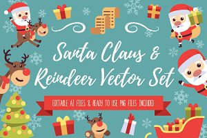 Santa Claus & Reindeer Vector Set