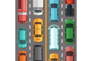 Vector highway road with cars and vehicles top view illustration