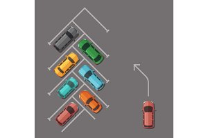Vector car parking lot top view illustration