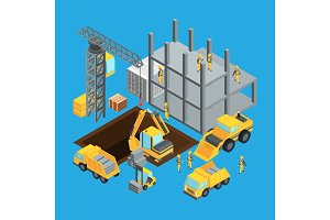 Building construction stage. Isometric transport for construct. Vector illustrations set