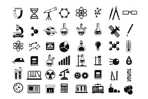 Monochrome set of different chemical symbols and others science icons in flat style
