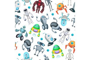 Seamless pattern with cute funny robots. Vector pictures in cartoon style