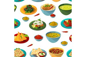 Indian national foods. Vector seamless pattern